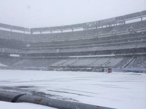 Metlife Stadium coberto de neve. Este deve ser o clima na hora do jogo.