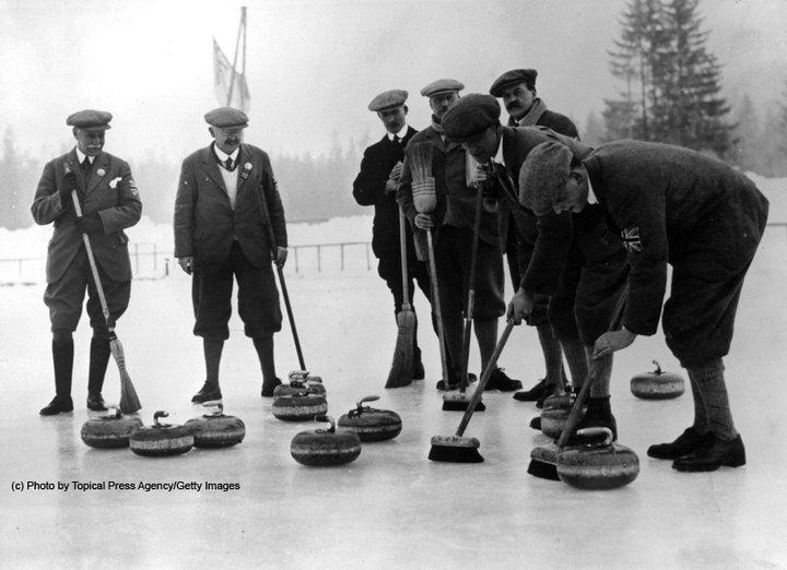 Competição de curling nos Jogos de Inverno de 1924. FOTO: Getty Images