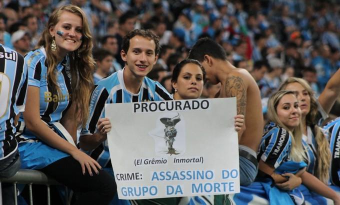 Torcida do Grêmio no jogo contra o Nacional do Uruguai na Arena pela Libertadores. FOTO: Diego Guichard/GloboEsporte.com