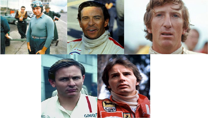 Alberto Ascari, Jim Clark, Jochen Rindt, Bruce McLaren e Gilles Villeneuve. Grandes pilotos que faleceram enquanto estavam na Fórmula 1. Foto: autoandrive.com e formula1.com