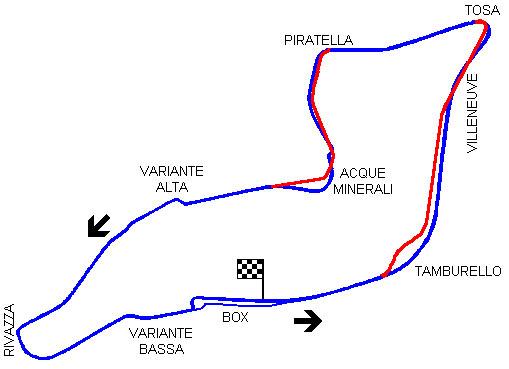Circuito Enzo e Dino Ferrari. Em azul o trajeto existente até 1994. Em vermelho estão as modificações que ocorreram após esta data. A curva Tamburello virou uma chicane. FOTO: gdecarli.it