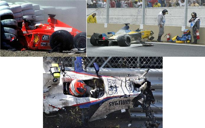 Schumacher em 1999, Alonso em 2003 e Kubica em 2007. Acidentes fortes, mas os pilotos não perderam as suas vidas nos mesmos e puderam continuar com suas carreiras. FOTO: motorsport.com, noticias.bol.uol.com.br e esporte.uol.com.br.