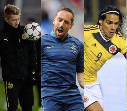 Em grande fase, Reus, Ribery e Falcao são grandes desfalques para a Copa. FOTO: AP