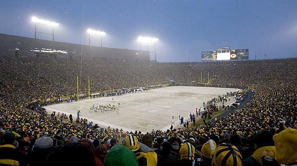 A neve como aliada do Packers, no Lambeau Field. FOTO: ESPN