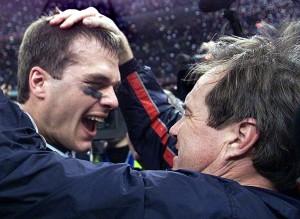 Brady e Belichick comemoram seu primeiro Super Bowl