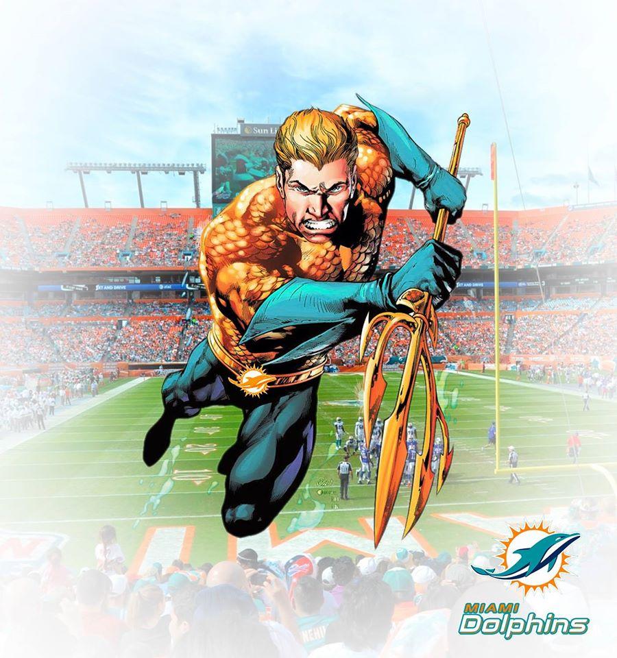 MIAMI DOLPHINS - Aquaman (DC Comics)  O Aquaman pode se comunicar com os animais marinhos, dentre eles, os golfinho