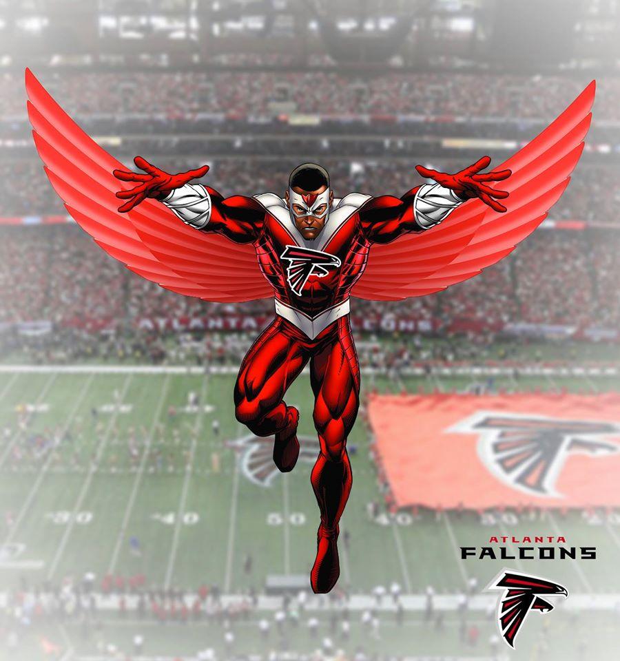 ATLANTA FALCONS - Falcão (Marvel)  Os Falcons são representados pelo emblemático Falcão. Que começa a fazer sua história também no Universo Cinematográfico da Marvel.