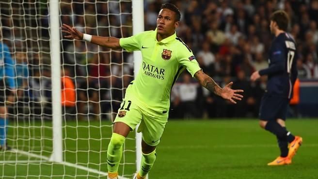 Neymar comemora o segundo gol do Barça. FOTO: UEFA