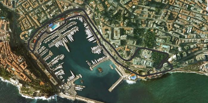 Vista aérea do de parte do Principado de Mônaco. Em destaque o traçado do circuito de rua onde se realiza desde 1950 o GP de Mônaco. FOTO: www.quiencorrehoy.com