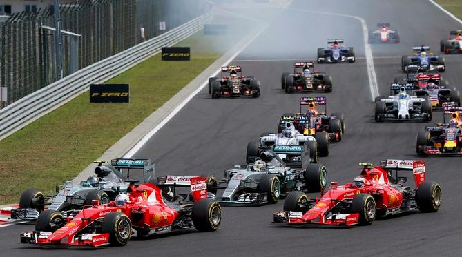 Na largada, as Ferraris de Vettel e Kimi tomaram a ponta das Mercedes de Hamilton e Rosberg. FOTO: Reuters.