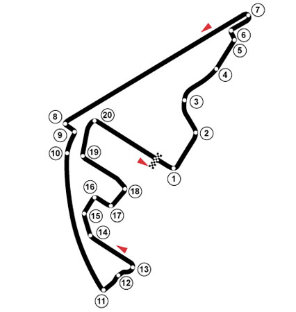 Circuito de Yas Marina onde se realiza o GP dos Emirados Árabes Unidos, desde 2009. Fonte: pt.wikipedia.org