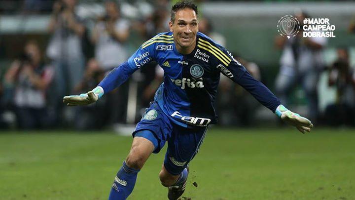 Fernando Prass mais uma vez foi o herói nos pênaltis. FOTO: fan page oficial do Palmeiras