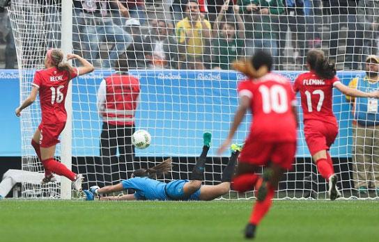 A canadense Beckie marca o gol mais rápido da história olímpica. FOTO: Rio 2016