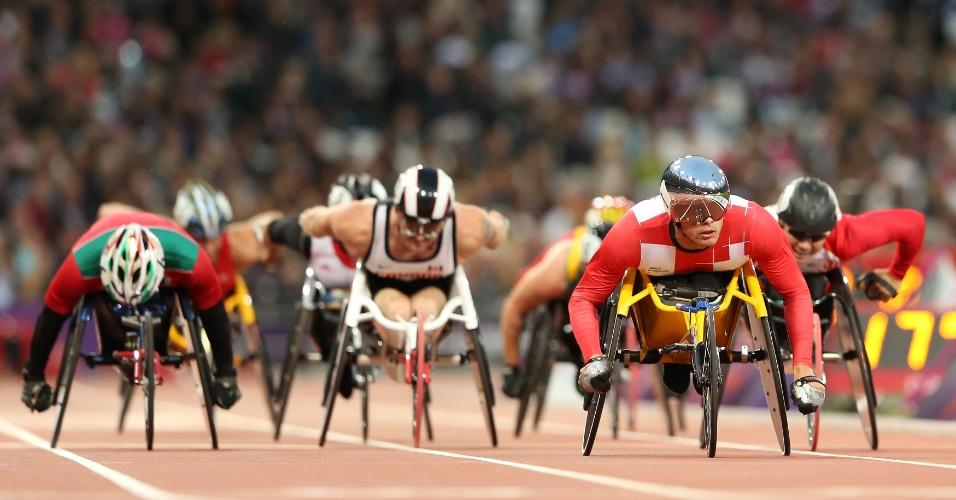 Atletas competem na prova dos 5000 m T54 masculina nos Jogos Paraolímpicos de Londres FOTO: IPC