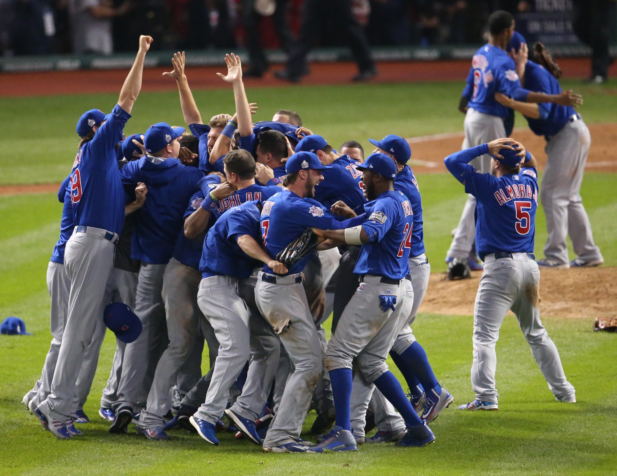 Festa dos jogadores na conquista do título. FOTO: Cubs
