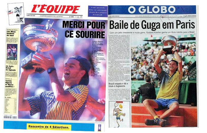 Jornais destacam o feito de Guga.