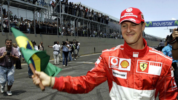 Michael Schumacher durante sua primeira despedida da Fórmula 1 durante o GP do Brasil de 2006.